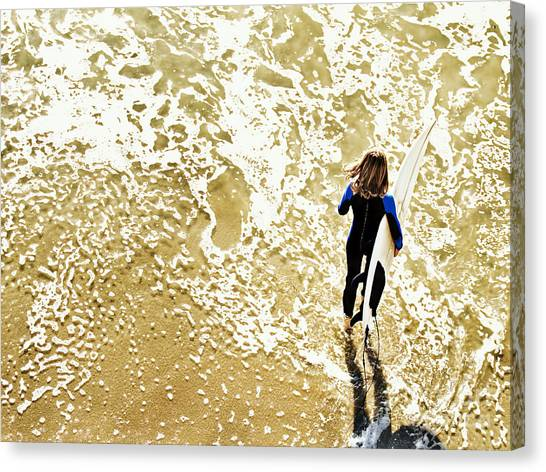 Surfer Girl At Swami's  Canvas Print
