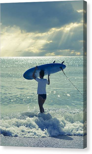Surfboard Canvas Print - Surfer Girl by Laura Fasulo