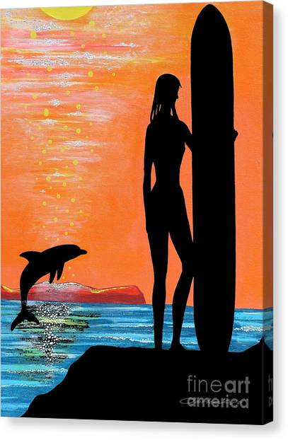 Surfer Girl With Dolphin Canvas Print