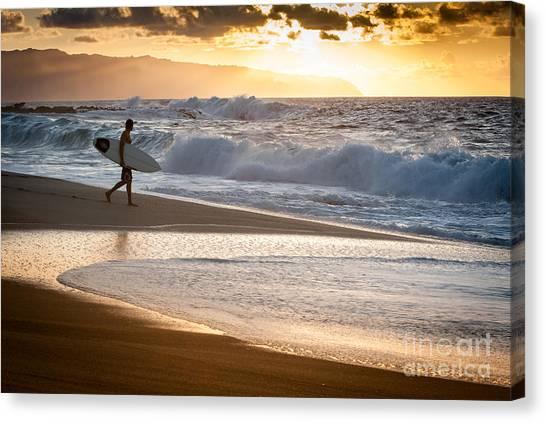 Surfer On Beach Canvas Print