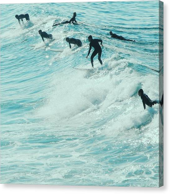 Santa Monica Canvas Print - Surfers In Pacific Palisades by Robert Ceccon