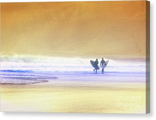 Canvas Print featuring the photograph Surfers by Scott Kemper