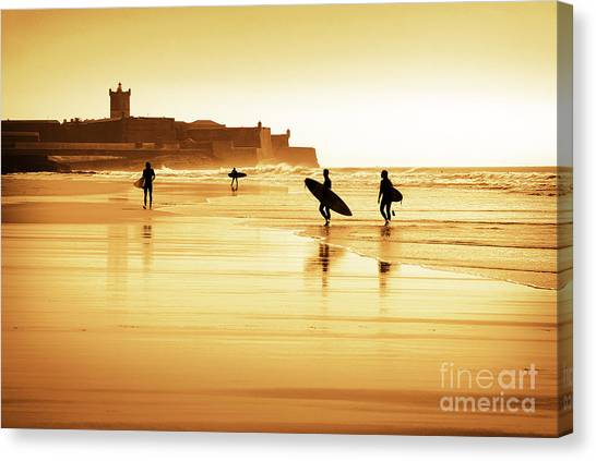 Surfing Canvas Print - Surfers Silhouettes by Carlos Caetano