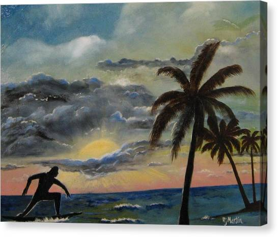 Surfers Sunset Canvas Print