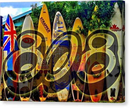 Surfboard Fence Canvas Print - Surfin' 808 by DJ Florek