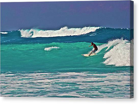 Surfing At Anaeho'omalu Bay 2 Canvas Print
