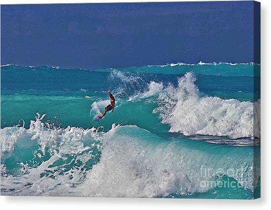 Surfing At Anaeho'omalu Bay Canvas Print