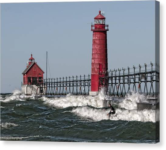 Surfing At Grand Haven Canvas Print