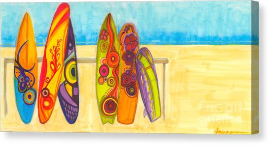 Surfing Buddies - Surf Boards At The Beach Illustration Canvas Print