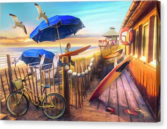 Surfboard Fence Canvas Print - Surfing Cottage By The Sea Painting by Debra and Dave Vanderlaan