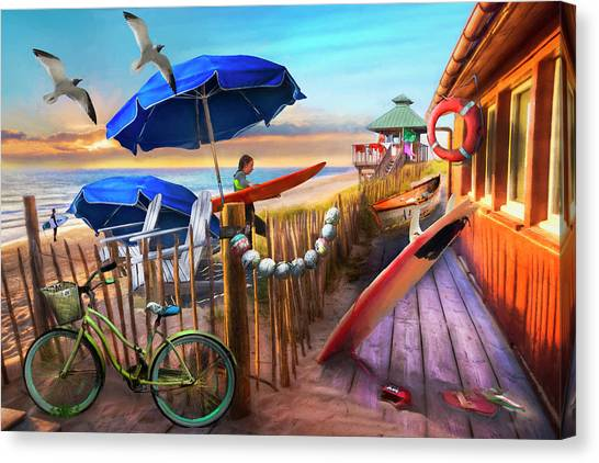 Surfboard Fence Canvas Print - Surfing Cottage By The Sea Watercolors by Debra and Dave Vanderlaan