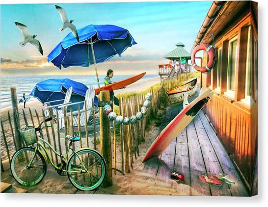 Surfboard Fence Canvas Print - Surfing Cottage Ocean Blues by Debra and Dave Vanderlaan
