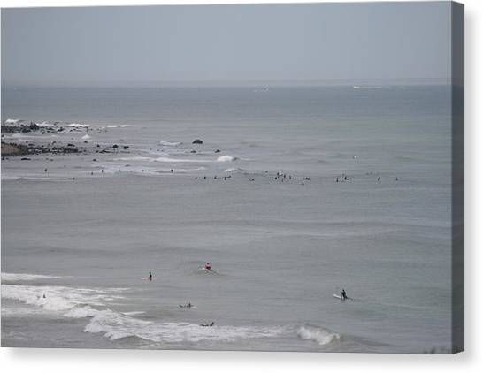 Surfing Ditch Plains Montauk Canvas Print