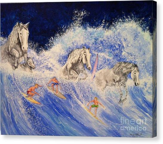 Surfing Horses Canvas Print