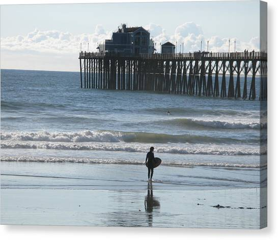 Surfing In San Clemente Canvas Print by John Loyd Rushing