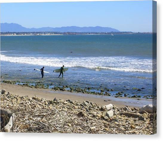 Surfing In Ventura Ca Canvas Print by Robin Hernandez