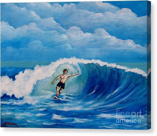Surfing On The Waves Canvas Print