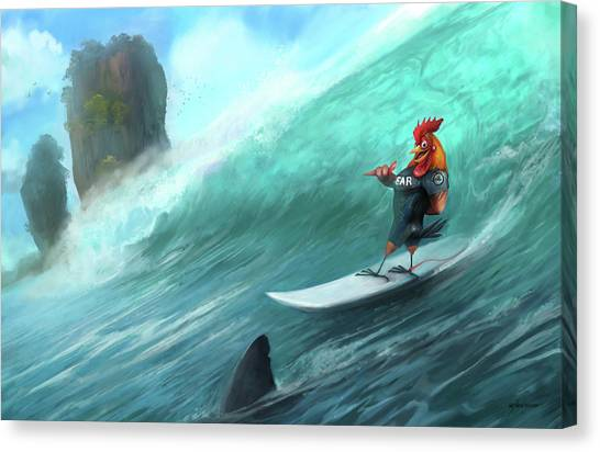 Surfing Rooster Canvas Print