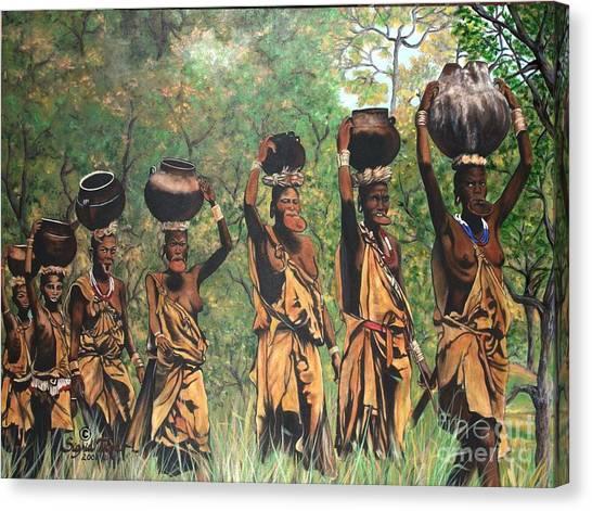 Blaa Kattproduksjoner        Surma Women Of Africa Canvas Print
