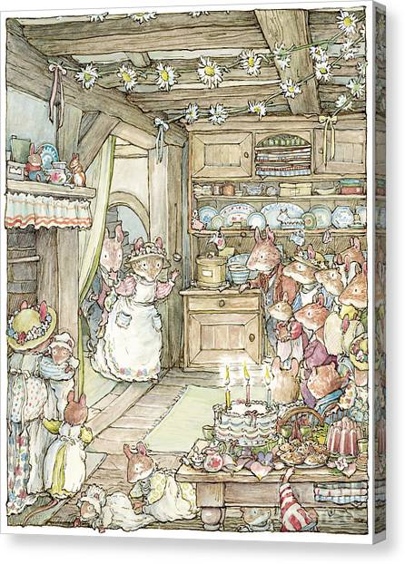 Tree Canvas Print - Surprise At Mayblossom Cottage by Brambly Hedge