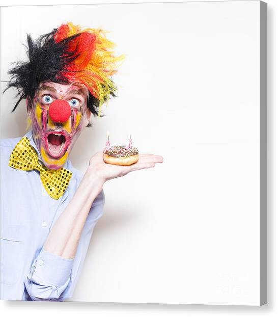 Doughnuts Canvas Print - Surprise Happy Birthday Clown Holding Party Cake by Jorgo Photography - Wall Art Gallery