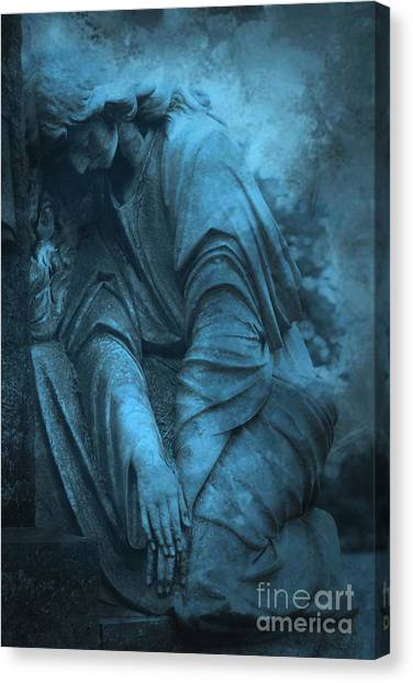Surreal Cemetery Grave Mourner In Blue Sorrow  Canvas Print by Kathy Fornal