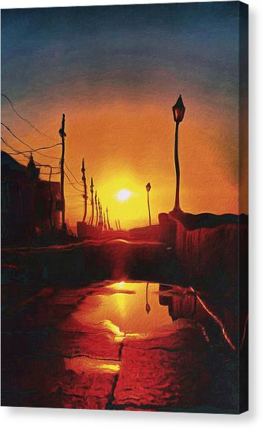 Surreal Cityscape Sunset Canvas Print