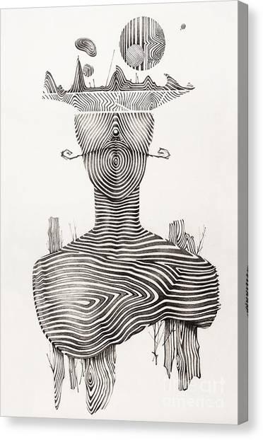 Fineart Canvas Print - Surreal Hand Drawing, Portrait Decorative Artwork  - Cebanenco Stanislav by Cebanenco Stanislav