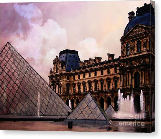 The Louvre Canvas Print - Surreal Louvre Museum Pyramid Watercolor Paintings - Paris Louvre Museum Art by Kathy Fornal