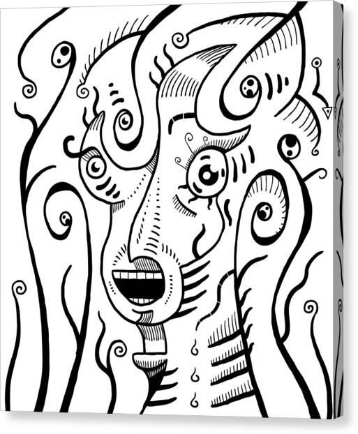 Surrealism Scream Black And White Canvas Print