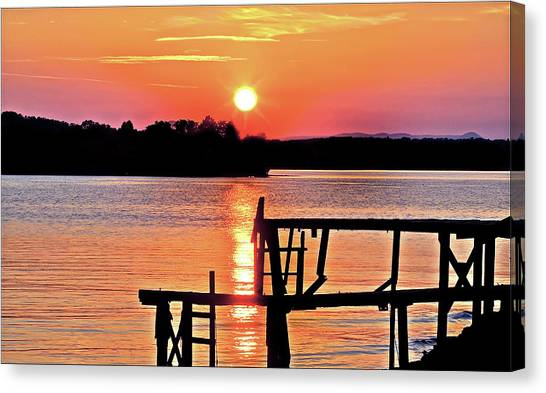 Surreal Smith Mountain Lake Dock Sunset Canvas Print