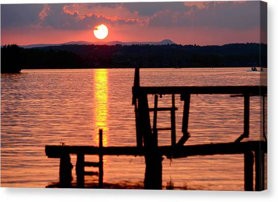 Surreal Smith Mountain Lake Dockside Sunset 2 Canvas Print