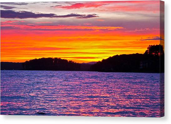 Surreal Smith Mountain Lake Sunset 2 Canvas Print