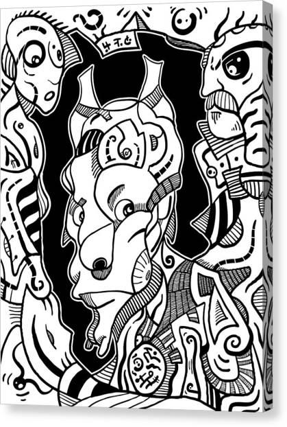 Surrealism Pagan Black And White Canvas Print