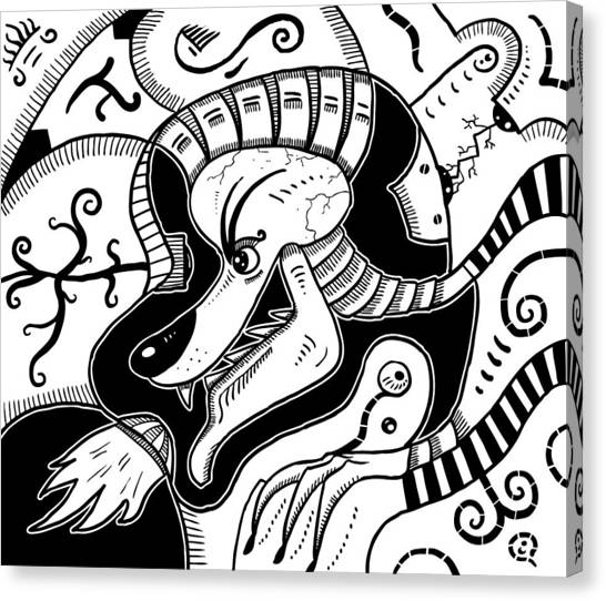 Surrealism Wolf Black And White Canvas Print