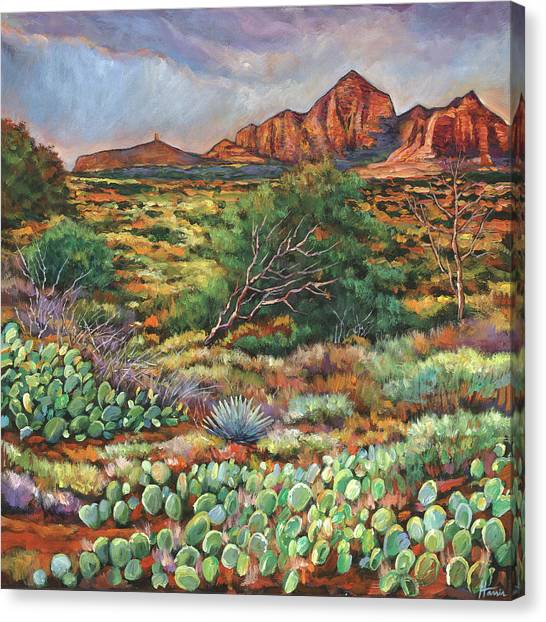 Cloudy Canvas Print - Surrounded By Sedona by Johnathan Harris