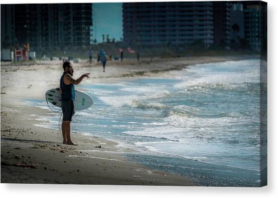 Surfboard Canvas Print - Surveying The Waves by Marvin Spates