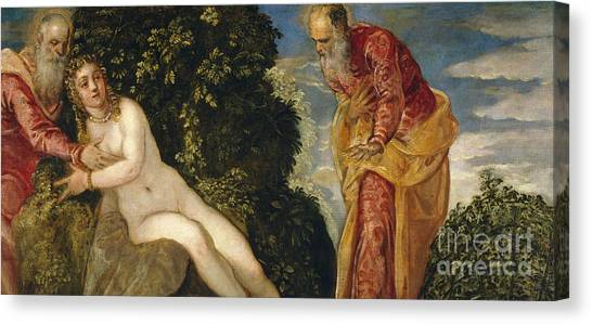 Elder Canvas Print - Susannah And The Elders by Jacopo Robusti Tintoretto