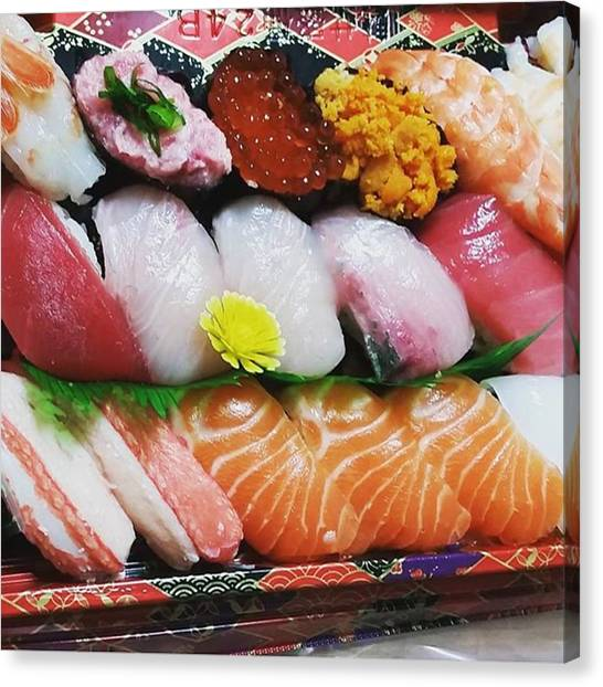 Pumpkins Canvas Print - Sushi For Christmas Dinner♥ #sushi by Lady Pumpkin
