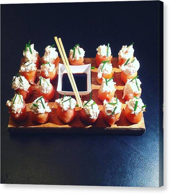 Salmon Canvas Print - Sushi Made At Home: Gunkan Spicy by Michele Bettoni