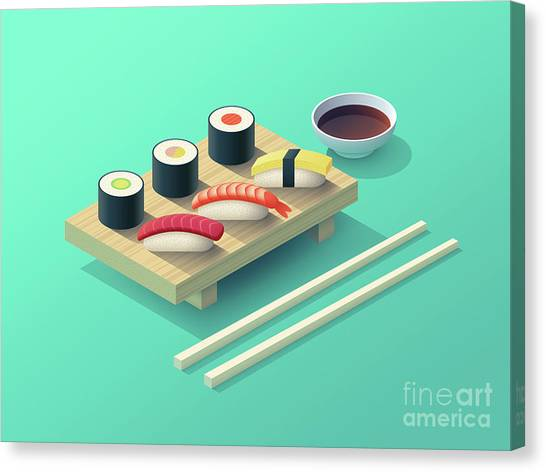 Japan Canvas Print - Sushi Set Isometric - Teal by Ivan Krpan