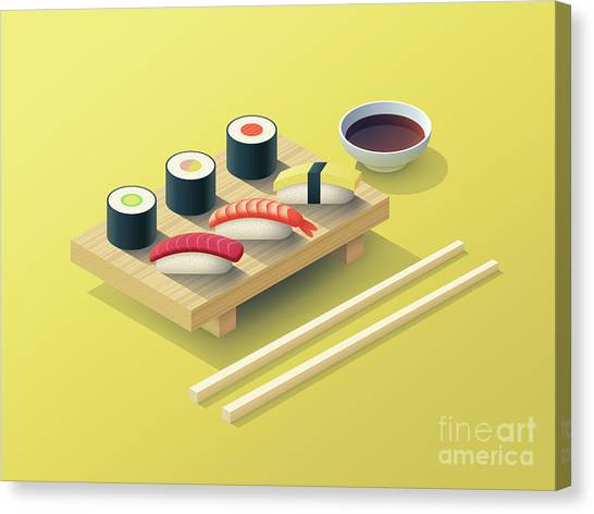 Japan Canvas Print - Sushi Set Isometric - Yellow by Ivan Krpan