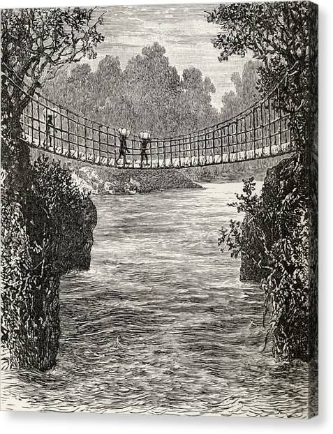 Congo River Canvas Print - Suspension Bridge Across The Ituri by Vintage Design Pics