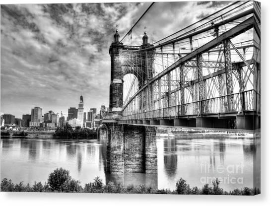 Suspension Bridge At Cincinnati Bw Canvas Print