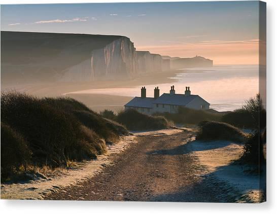 Sussex Coast Guard Cottages Canvas Print