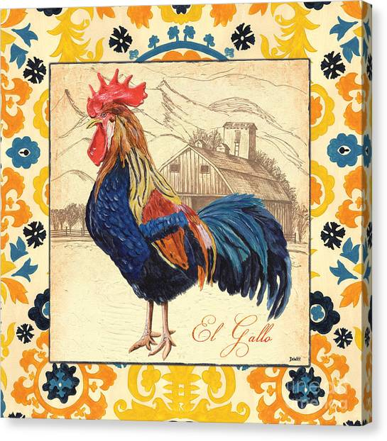 Chicken Farms Canvas Print - Suzani Rooster 1 by Debbie DeWitt