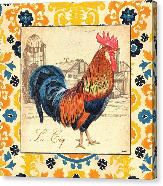 Chicken Farms Canvas Print - Suzani Rooster 2 by Debbie DeWitt