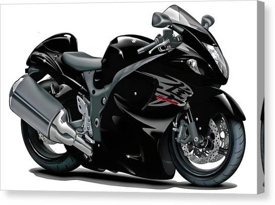 Suzuki Canvas Print - Suzuki Hayabusa Black Bike by Maddmax