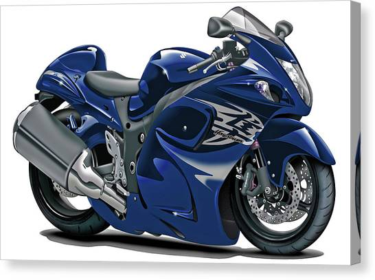 Suzuki Canvas Print - Suzuki Hayabusa Dark Blue Bike by Maddmax