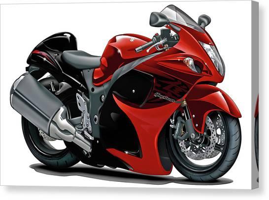 Suzuki Canvas Print - Suzuki Hayabusa Red-black Bike by Maddmax